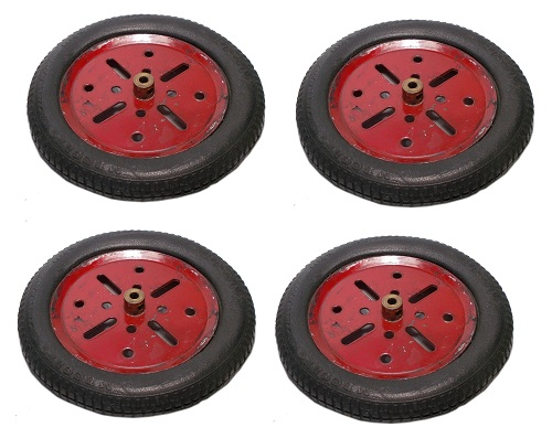 "4 x Meccano Dunlop Tyres with 3"" Pulley Wheels"
