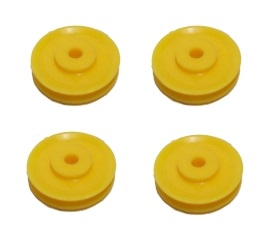 4 x Pulley no Boss, 25mm dia, yellow plastic (SAVE 50%)