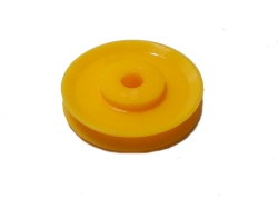 Pulley 25mm dia without boss, UK Yellow plastic
