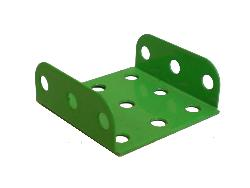 Flanged Plate, 3x3 holes - vivid green