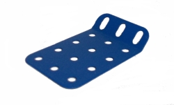 Obtuse Flanged Plate 4x3 holes - blue metallic