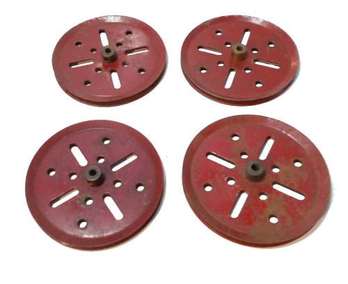 4 x Pulley 75mm dia (red)