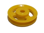 Pulley 25mm dia without boss, slotted holes, plastic
