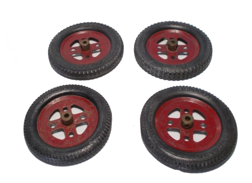 "4 x Meccano Dunlop Tyres with 2"" Pulley Wheels"